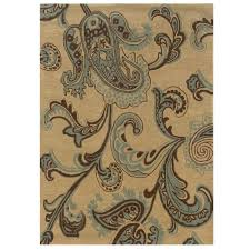 8 By 10 Area Rugs Linon Home Decor Trio Collection Beige And Blue 8 Ft X 10 Ft