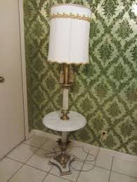 vintage cast iron floor lamp with attached table antique marble