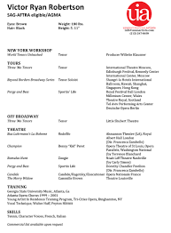 Acting Resume Builder Resume Musical Theater