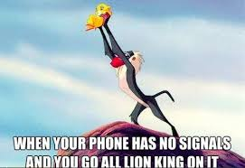 Lion King Cell Phone Meme - going all lion king on that shit reception phone and humor