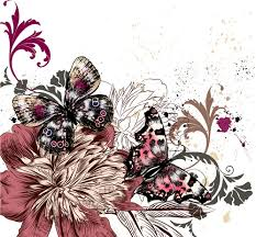 vintage flowers with butterflies vector free vector in adobe
