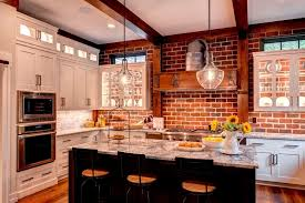 kitchen with brick backsplash the benefits to use brick kitchen backsplash all about countertop