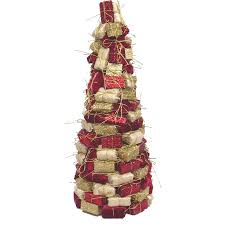 shop holiday living 16 in foam red gold tree tabletop christmas
