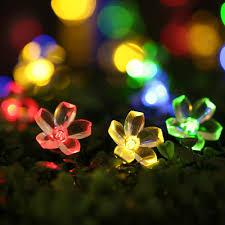 Colored Christmas Lights by Qedertek Solar Christmas String Lights 21ft 50 Led Fairy Blossom
