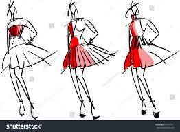 digital painting fashion sketch design stock vector 754435591