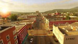 small town america aerial of small town america at sunrise on main street stock footage