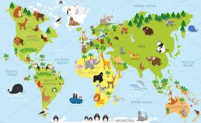 Kids World Map by Cartoon Animals World Map Illustrations Creative Market