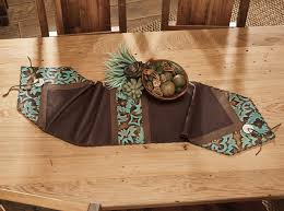 table runner turquoise brown medallion leather table runner 12 x 72