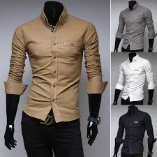 fashion mens dress shirts mandarin collar slim fit men shirts long