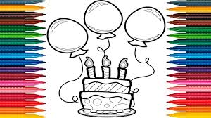 birthday cake balloons drawing learn colors balloons draw