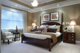 great master bedroom wall color with white molding 4 post bed