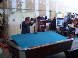 brunswick 3 piece slate pool table removing pool table slate youtube