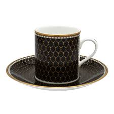 antler trellis set of 6 coffee cups u0026 saucers black halcyon days