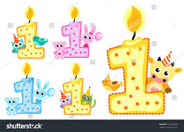 1st Birthday Card Invitation Set Happy First Birthday Candle Animals Stock Vector 531452539