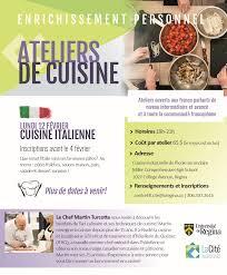 affiche atelier cuisine cité universitaire francophone de l université de