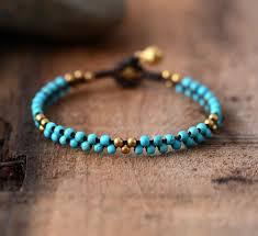 bracelet cord beads images Woman boho bracelets handmade stones brass beads wax cord simple jpg