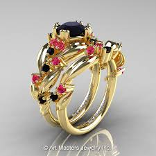 leaf and vine engagement ring nature classic 18k yellow gold 1 0 ct black pink sapphire