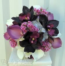 Fake Wedding Flowers Plum Lavender Wedding Bouquet Calla Lily Orchid Silk Wedding