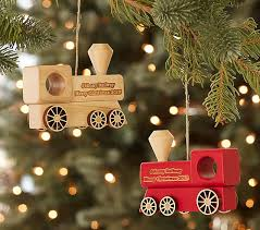 personalized wood ornaments pottery barn