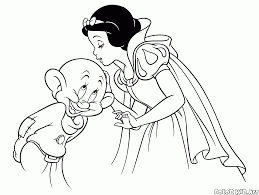 coloring page snow white and dopey
