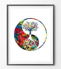 yin yang tree watercolor print tree of mimiprints anatomy