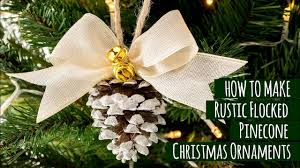 diy rustic flocked pinecone ornaments