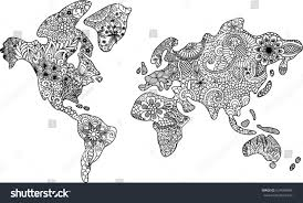 Black And White World Map Abstract Black White Floral World Map Stock Vector 624509984