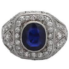 1920s antique 1 85 carat sapphire platinum cocktail ring