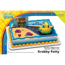 sponge bob cake decopac spongebob squarepants krabby patty decoset 1 4 sheet