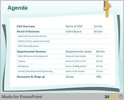 powerpoint meeting agenda template or summary layout in powerpoint