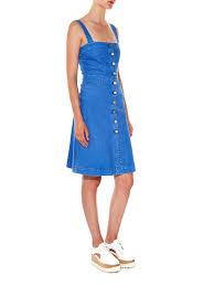 stella mccartney linda denim pinafore dress in blue lyst