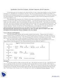 qualitative tests for alcohols organic chemistry lab manual
