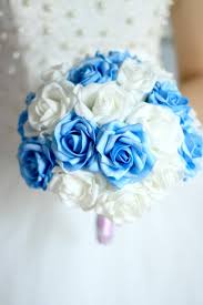 white blue roses really photo white and blue bridal bouquets wedding silk