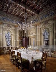 castle dining room italy brescia castle of bornato palatial dining room stock photo