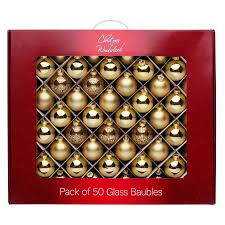 gold glass baubles 50 pack at homebase co uk