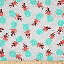 Mint And Coral Home Decor by Michael Miller Migration Pineapple Palm Coral Discount Designer
