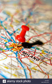 Italy On A Map by Map Pin Pointing To Milan Italy On A Road Map Stock Photo Royalty
