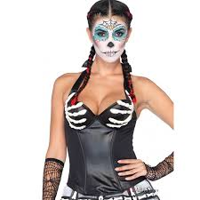 skeleton hand day of the dead halloween bustier
