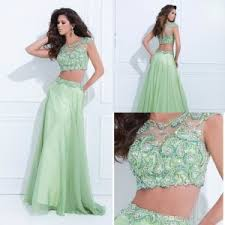 two pieces prom dresses 2017 cap sleeves illusion back beaded