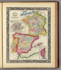 Spain France Map by Map Of France Spain And Portugal David Rumsey Historical Map