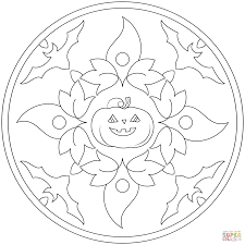 halloween mandala with bats and pumpkin coloring page free
