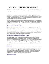 Entry Level Resume No Experience Sample Resume For Medical Assistant With No Experience Template