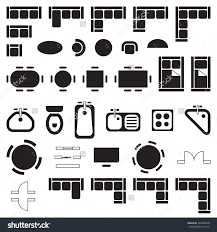 business furniture symbols used in architecture plans icons set