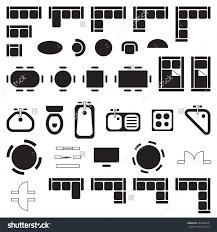 Floor Plan Furniture Symbols Business Furniture Symbols Used In Architecture Plans Icons Set