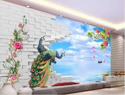 3d brick wall backdrop painting pea seaside scenery landscape wallpaper murals papel parede mural wallpaper