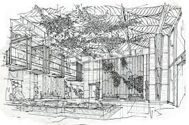 sketch interior perspective lobby lounge black and white interior