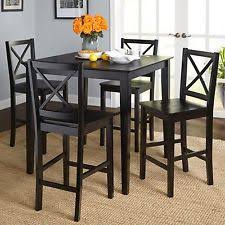 black counter height table set lexington 5 piece 60 width table dining set with window back chairs