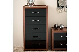 sliderobes enigma chest of drawers tobacco walnut gloss black