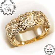 Hawaiian Wedding Rings by Buy A Handmade 14k Gold Hand Engraved Hawaiian Jewelry Ring With
