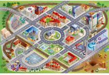 kids large red city play mat rug children non slip backing playmat